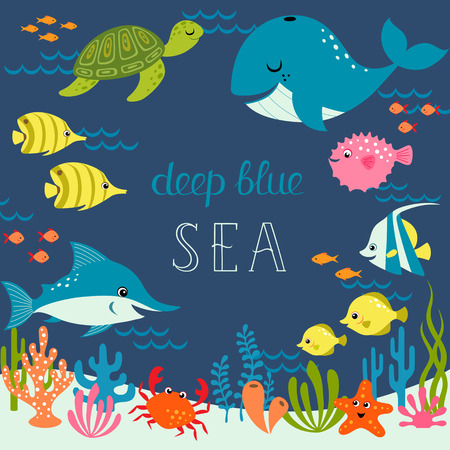 Illustration pour Cute sea design with place for your text. - image libre de droit