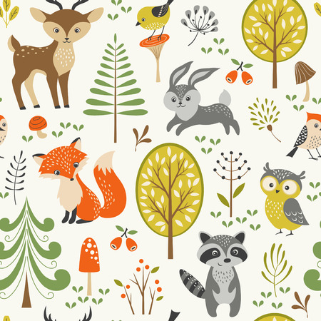 Illustration for Seamless summer forest pattern with cute woodland animals, trees, mushrooms and berries. - Royalty Free Image