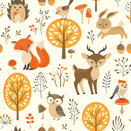 Autumn forest seamless pattern with cute animalsのイラスト素材