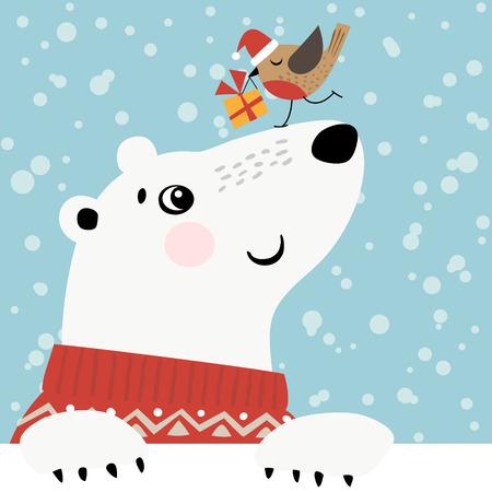 Ilustración de Christmas greeting card with polar bear and little bird. - Imagen libre de derechos