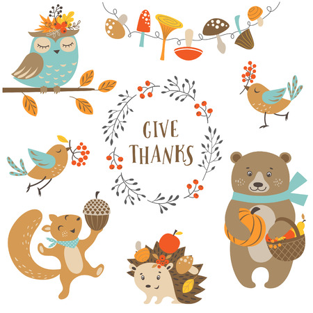 Set of cute woodland animals for autumn and Thanksgiving design.のイラスト素材