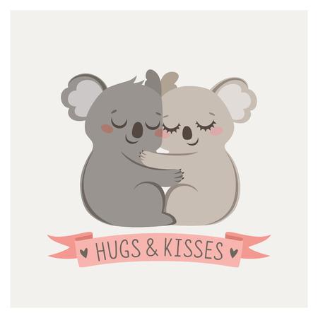 Illustration pour Cute card with loving couple of koalas - image libre de droit