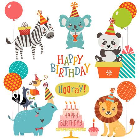 Photo pour Set of cute animals for birthday design - image libre de droit
