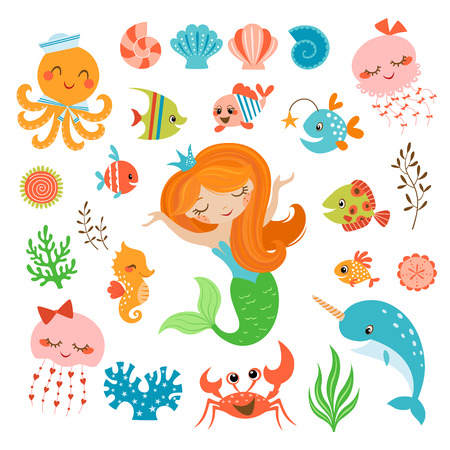Illustration pour Set of cute underwater design elements. - image libre de droit