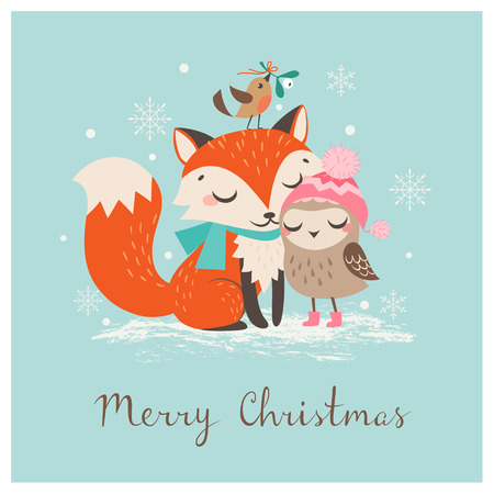 Illustration for Cute Christmas greeting card with fox and owl. - Royalty Free Image