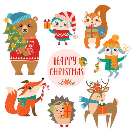 Photo for Set of cute forest animals with Christmas presents. - Royalty Free Image