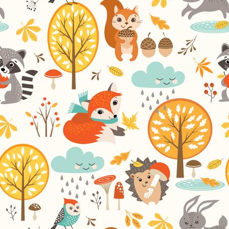 Illustration pour Set of autumn symbols pattern. - image libre de droit