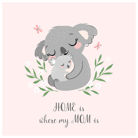 Illustration for Mother's day greeting card or poster with cute koala mother and baby on pink background. - Royalty Free Image