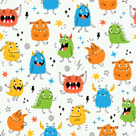 Illustration pour Vector seamless pattern of funny colorful monsters for kid's design - image libre de droit