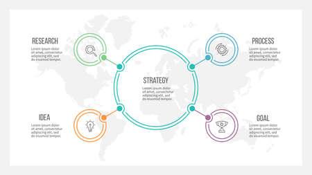 Illustration pour Outline infographic. Organization chart with 4 options. Vector template. - image libre de droit