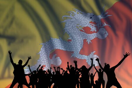Foto de Peoples silhouette on flag and sky background, day of Bhutan, independence holiday  - Imagen libre de derechos