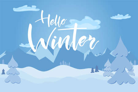 Illustration for Winter day in forest and mountains on landscape with white snow and hand lettering text. Vector illustration - Royalty Free Image