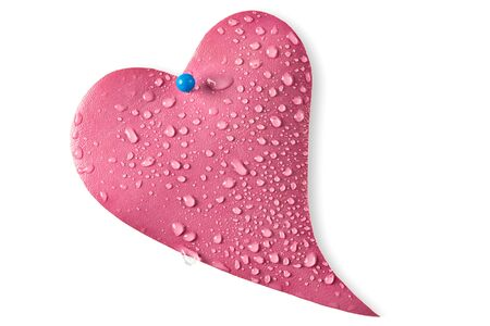 Water drops on leather pink heart