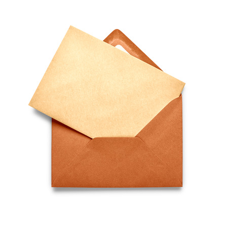 Vintage brown envelope with card isolated on white background