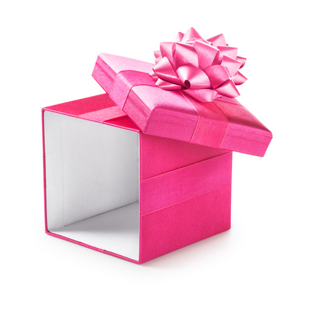 Open pink gift box with ribbon bow. Holiday present. Object isolated on white background. Clipping path
