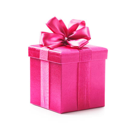 Pink gift box with ribbon bow. Holiday present. Object isolated on white background. Clipping path