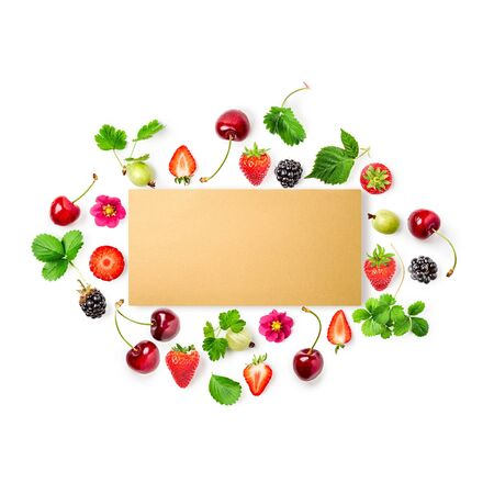 Photo for Fresh strawberry, cherry, gooseberry and blackberry frame with paper card on white background. Healthy eating concept. Summer fruits arrangement. Top view, flat lay, design element - Royalty Free Image