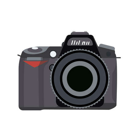 Illustration for Vector illustration of a camera is drawn in a flat style. - Royalty Free Image