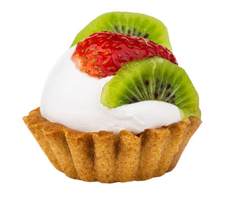 Photo pour Tartlet with cream, strawberry and kiwi isolated on white background. Side view - image libre de droit