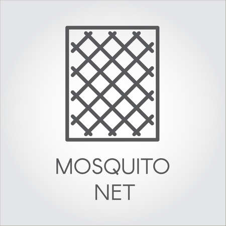 Ilustración de Simplicity icon in linear style of mosquito nets for windows. Concept of protection of premises from insects. Logo for shop catalogue, online shops and other projects. Vector outline label - Imagen libre de derechos