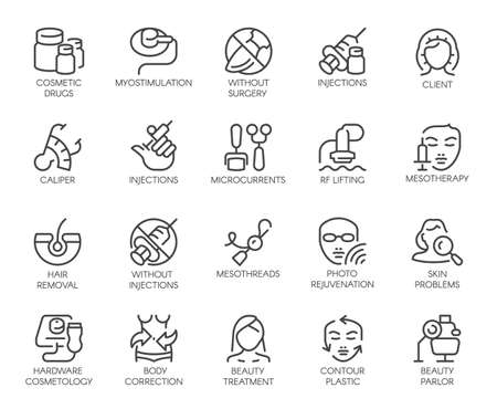 Illustration pour 20 icons on cosmetology theme isolated. Beauty therapy, medicine, healthcare, wellness treatment linear symbolsc - image libre de droit