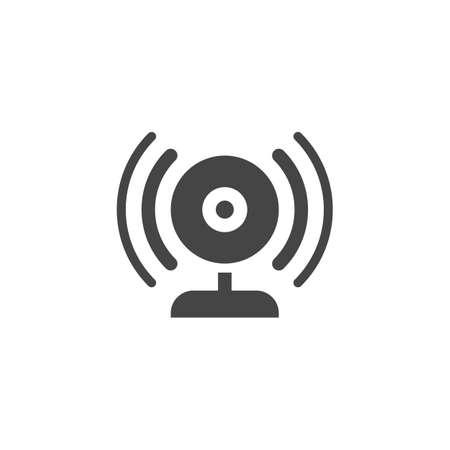 Illustration pour Broadcasting via webcam flat icon. Web camera and sound waves label. Blogging, vlogging, streamng, online translation - image libre de droit