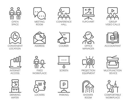 Photo pour Premium Icons Pack of Coworking Center and Workspace, Business Space and Office Equipment. Such Line Signs as Workplace, Accountant, Manager. Custom Vector Icons Set in Outline Style Editable Stroke. - image libre de droit
