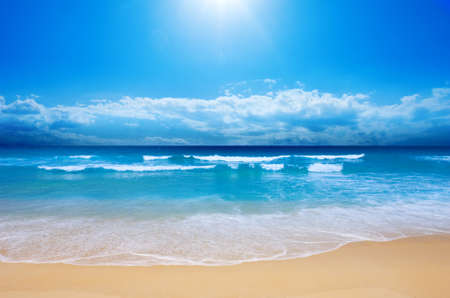Warm, gentle, velvety tropical ocean. Beautiful tropical landscape.
