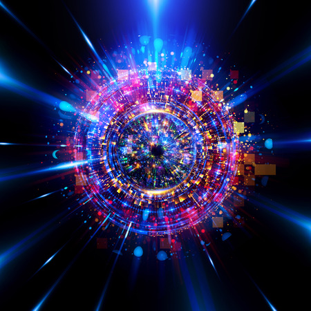 Photo pour Abstract background. luminous swirling. Elegant glowing circle. Big data cloud. Light ring. Sparking particle. Space tunnel. Colorful ellipse. Glint sphere. Bright border. Magic portal. Energy ball.  - image libre de droit