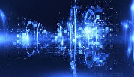 Photo pour 3d abstract tech background. Floating Numbers HUD Background. Matrix particles grid virtual reality. Smart build. Grid core. Hardware quantum form. Future technology - image libre de droit