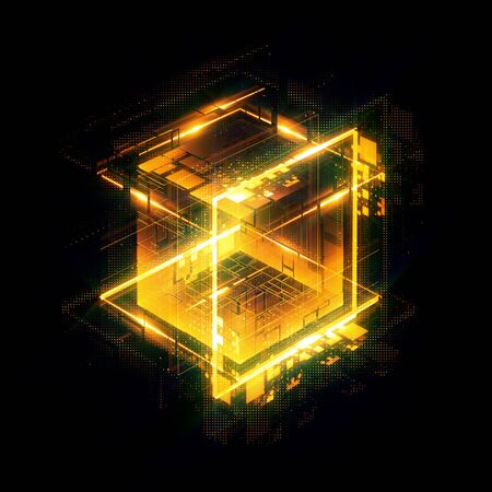 Photo for Abstract dark background. Bright box. Shine square.  Light geometry. Smart code. Energy effect. Big data.  Digital chip. Glare grid lines. Glow cubes. CPU core.  Hi Tech. Mobile innovation. SSD Board  - Royalty Free Image