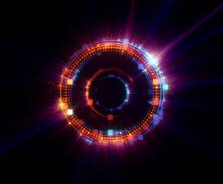 Photo for Vivid abstract background. Beautiful design of rotation frame.   Mystical portal. Bright sphere lens. Rotating lines. Glow ring.  Magic neon ball. Led blurred swirl. Spiral glint lines. - Royalty Free Image