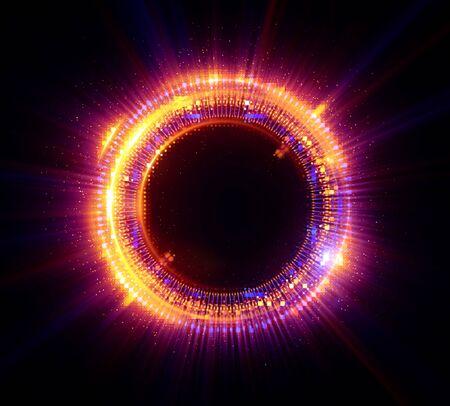 Foto de Vivid abstract background. Beautiful design of rotation frame.   Mystical portal. Bright sphere lens. Rotating lines. Glow ring.  Magic neon ball. Led blurred swirl. Spiral glint lines. - Imagen libre de derechos