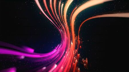Photo for Glow effect. Ribbon glint. Abstract rotational border lines. Power energy. LED glare tape.  Luminous shining neon lights. Cosmic abstract waves. Magic design round whirl. Swirl trail effect. - Royalty Free Image