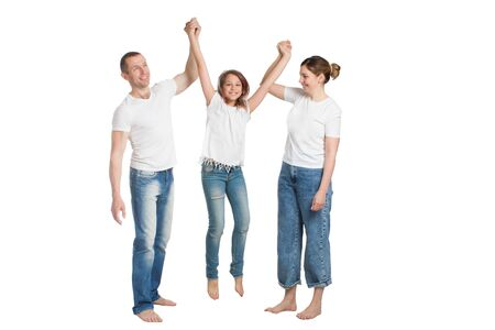 Photo pour family mom, dad and son, in casual clothing, isolated on a white background - image libre de droit