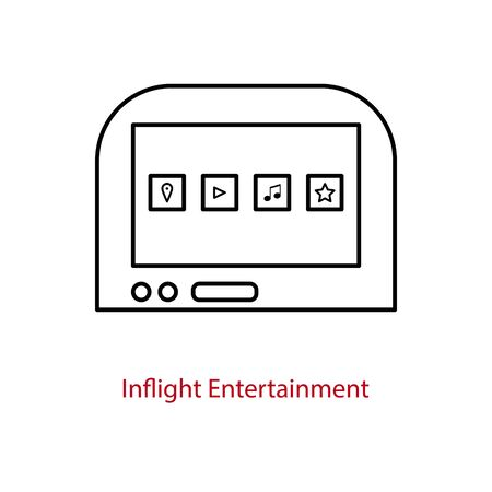 Illustration pour Inflight entertainment screen icon on an airplane seatback. On-board multimedia tablet for passengers. - image libre de droit