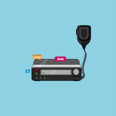 Car Radio Transceiver, Walkie Talkie Vector Illustration.radio transceiver station and loud speaker holding on air ,use for ham connection and amateur radio gear theme