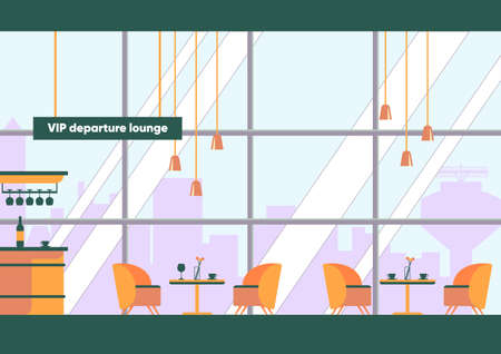 Vip Departure Lounge Interior Inside Airport Terminal Building Business First Class Passenger Empty Waiting Room Alcohol Bar Counter Coffee Table With Chairs Vector Illustration Royalty Free Vector Graphics