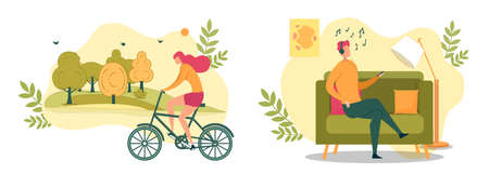 Cartoon Woman Ride Bicycle in Park Vector Illustration. Man in Headphones Sit on Couch Listen Music from Smartphone. Summer Outdoor Sport Activity, Indoor Relaxation. Home Relax, Recreation