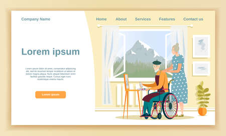 Illustration pour Aged Gentlemen in Wheelchair Painting, Sitting in Front Easel, His Wife Watching, Standing Next to Him. Cozy Room at Home or in Nursing Home. Window Facing Mountain. Landing Page with Copy Space. - image libre de droit