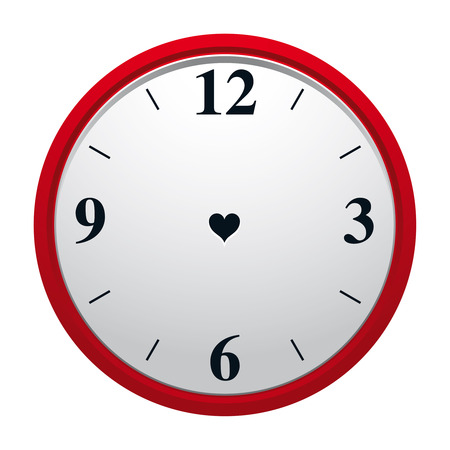 Clock with heart shaped hole in dial plate and with no minute and hourhand. Eternity of true love symbol.