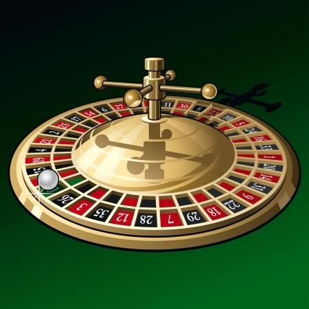 Roulette wheel on dark green background.