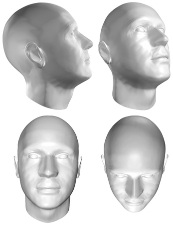 Set of four views of a human head at different angles on white background.   3D render