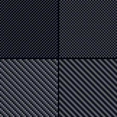 Set of four carbon fiber seamless patterns Illustration