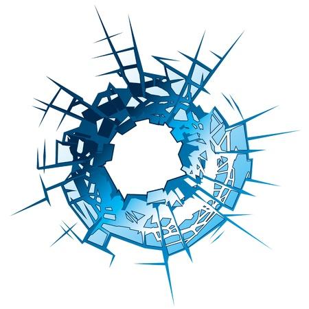 Bullet Hole in glass  Vector Illustration