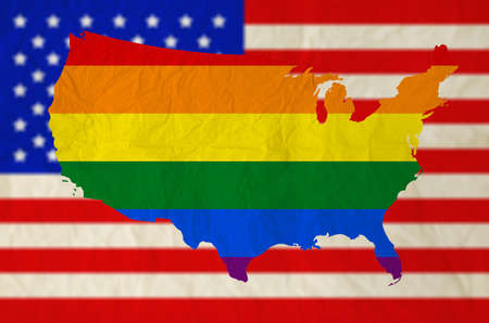 Rainbow flag on United states of america with USA flag background  US Supreme Court rules gay marriage is legal nationwide