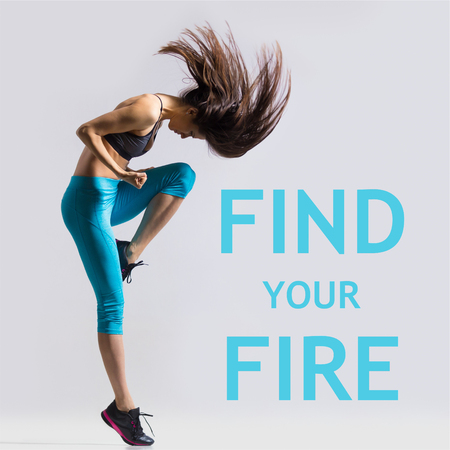 "Beautiful young fit modern dancer lady in blue sportswear warming up, working out, dancing with her long hair flying, full length, studio image on gray background. Motivational phrase ""Find your fire"""