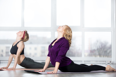 Photo pour Fitness, stretching practice, group of two attractive happy fit mature women in sportswear working out in sports club, doing Cobra posture, backbend exercise, bhudjangasana (Bhujangasana) in class - image libre de droit