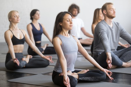 Photo pour Group of young sporty people practicing yoga lesson with instructor, sitting in Padmasana exercise, Lotus pose, working out, indoor full length, students training in club, studio - image libre de droit