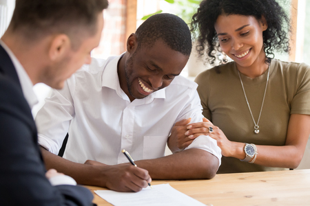 Photo for Happy african black family couple customers renters tenants sign mortgage loan investment agreement or rental insurance contract meeting lender landlord making real estate sale purchase deal. - Royalty Free Image